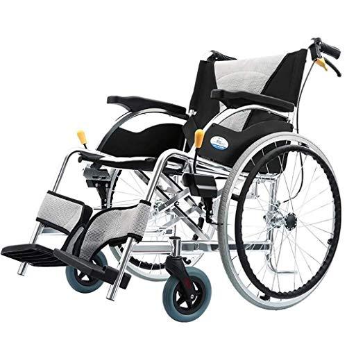 WXDP Aluminio autopropulsado, viaje plegable con el freno doble del pedal del pie ajustable del neumático no neumático discapacitado/vespa de la carretilla de los ancianos autopropulsada