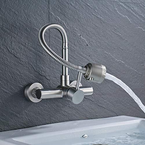 Taoziaa eenhandslang met flexibele slang, keukenkraan aan de muur, 360 graden draaibaar, voor badkamer, keukenmengkraan, warm- en koudwaterkraan