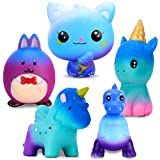 Large Squishies Toy Gifts 5 Pcs, Including Cat, Rabbit, Elf, Unicorn, Dinosaur, Starry Blue Giant Squeeze Kawaii Toy, Creamy Scented Soft Rebound Stress Reliever Sensory Toys, Gift for Kids