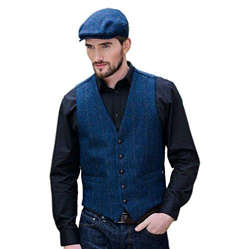 Tweed Vest for Men, Blue Herringbone Tweed, Made in Ireland