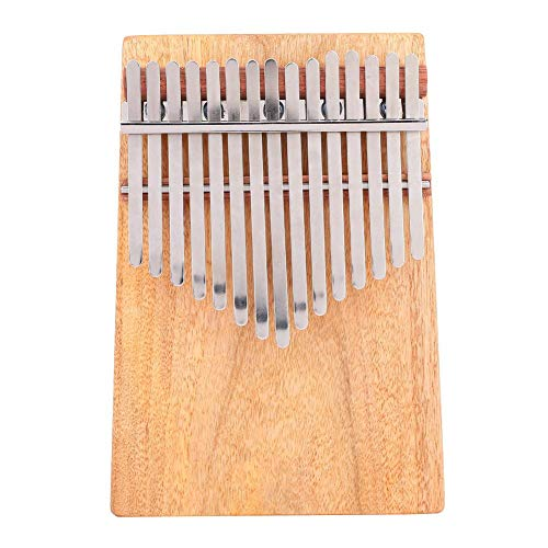 Kalimba 15 Tasten Daumen Klavier, tragbare Vollfestes Kampferholz 15 Skalen G-Dur Kalimba Instrument mit Gürteltasche Aufkleber