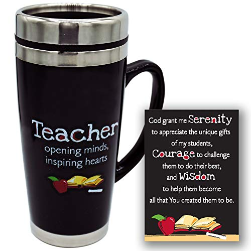 Teacher's Travel Mug - Insulated Coffee Thermos with Lid, Inspirational Teacher Appreciation Gifts, Gift For Professors, Educators, and Teachers Assistants, 7 Inches Tall, 16 Ounces