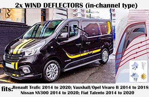 Set von 2 Windabweisern im Kanal-Typ, kompatibel mit Renault Trafic, Opel Vivaro Van Mini 2014 2015 2016 2017 2018 2019 2020 Seitenblenden Fensterabweiser