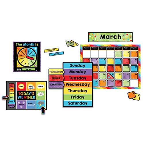 Celebrate Learning Calendar Bulletin Board Set—Colorful Calendar, Monthly Headers, Days of the Week, Seasons, Birthdays, Special Occasions, Weather Chart (86 pc)
