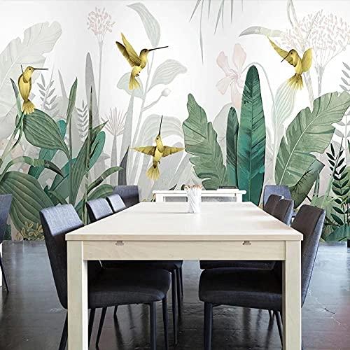 Papel pared fotográfico Foto pared 3d moderno mano pintado plátano hoja flor pájaro pájaro mural sala de estar sala de estar papelido fondo de pantalla,400X280CM(WxH)
