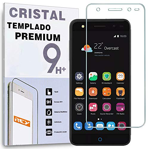 REY Protector de Pantalla para ZTE Blade V7 Lite Cristal Vidrio Templado Premium