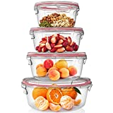 Home Fleek - Set de 4 Envases de Vidrio Circular para Alimentos  ...