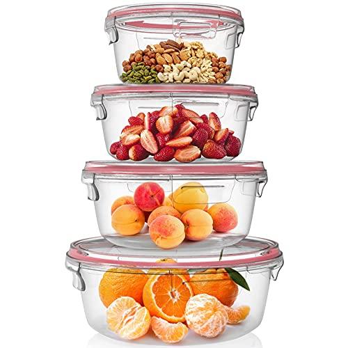 Home Fleek - Set de 4 Envases de Vidrio Circular para Alimentos | Recipientes Herméticos de Cristal Para La Cocina | Apto para Lavavajilla, Horno, Microondas, Congelador | Sin BPA (Rojo, Set de 4)