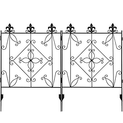 MIXXIDEA Garden Fence Border 44in x 12ft Metal Fencing Folding Panels Wrought Iron Fence Garden Landscape Edging Lawn Border Decorative Gardening Fence for Flower Bed, Pets, Outdoor (4 Pack-Black)