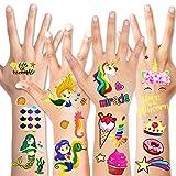 HOWAF Unicorn+Mermaid Temporary Tattoos for Kids, Glitter Classic Styles Unicorn Tattoo Stickers 100+ Shimming Fake Waterproof Tattoo Sticker for Children's, Kids, Girls, Boys Birthday Party Decorations Supplies Favors