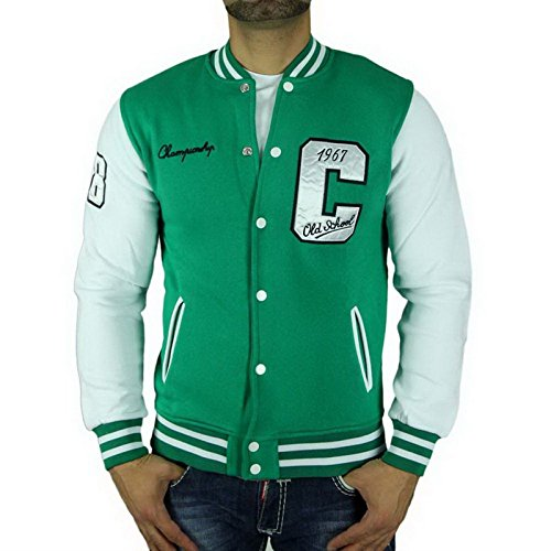 Cabeneli CABANELI Oldschool College Jacke Sweatjacke Pullover GRÜN - WEIß NEU!, Größe:S