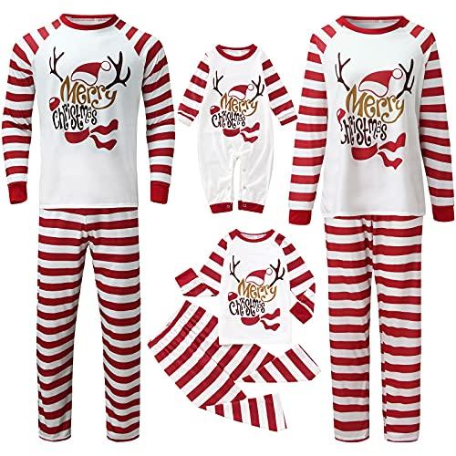 Matching Family Christmas Pajamas Noveltly Funny Elk Striped Printed Sleepwear Xmas Holiday 2Piece Tops Pants Homewear