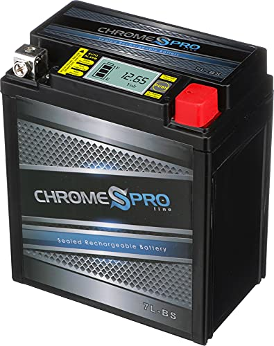 Chrome Battery YTX7L-BS iGel Power Sports Battery - Rechargeable, High Performance, Factory Sealed, AGM