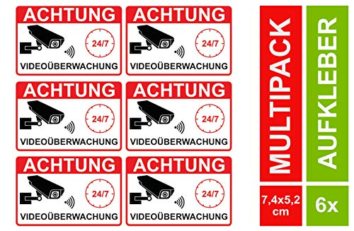 6 Video Aufkleber Videoüberwachung Videoüberwacht Sticker Hinweis Kameraüberwachung (6 Stück)