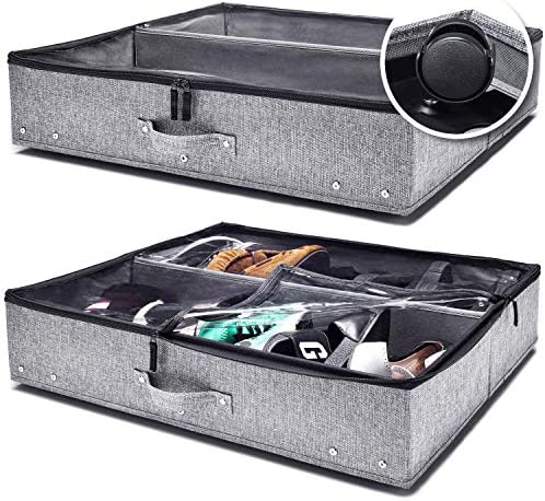 Under Bed Storage with Wheels Clear Top Cover and Steel Weight Bearing Elements for Shoes Clothing product image