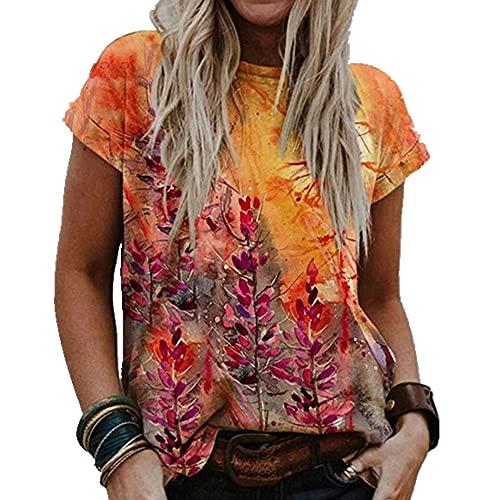 N\P Camiseta de mujer de manga corta casual de verano con cuello en O