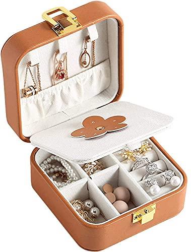 Recet Joyero pequeño joyero de viaje, organizador con espejo, portátil, para anillos, pendientes, collar (marrón)