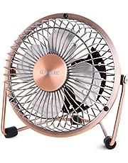 【2019新発売】Glamouric usb扇風機 卓上扇風機 レトロ 無段階風量調節 4インチ ミニ扇風機 デスクファン 静音 パワフル 上下回転 オシャレ(銅色)