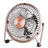 Glamouric usb扇風機 卓上扇風機 レトロ 無段階風量調節 4インチ ミニ扇風機 デスクファン 静音 パワフル 上下回転 オシャレ(銅色)