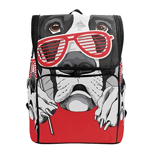 Mokale Dogge-Hunderote Grill-Gläser,Rucksack Rucksack Reisetasche Wanderrucksack College Student School Bookbag Reisetasche für Männer oder Frauen