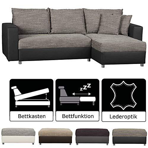 CAVADORE Schlafsofa Caaro mit Recamiere links oder rechts / Couch mit  Schlaffunktion und Bettkasten / Materialmix mit Kunstleder / 233 x 146 x 69 / Grau-Schwarz