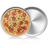 2 Pcs Bandeja para Hornear Pizza para Horno, Pizza Bandeja para Horno Redonda Antiadherente Sartén para Pizza, Bandeja para Horno Halógena de Acero Inoxidable Plato para Pastel de Pizza (10 pulgadas)