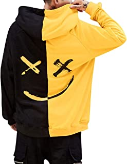 6fb82f8f3 Star_wuvi Men's Hoodie BE Happy Smiley Print Color Block Hooded Pullover  Tops Winter Spring Plus Size