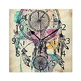 XiangHeFu Wanduhr, quadratisch, 20,3 x 20,3 cm, Silent Dream Feder, Windspiel, Dekoration für Zuhause, Büro, Schule
