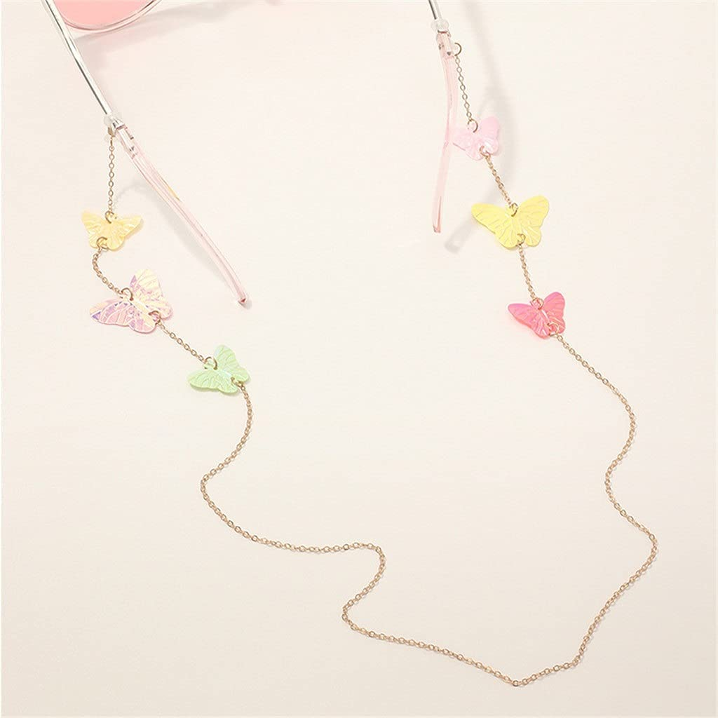 GELTDN Asymmetric Color Butterfly Lanyard Hold Straps Cords Reading Glasses Chain Fashion Women Sunglasses Accessories (Color : A, Size : Length-70CM)