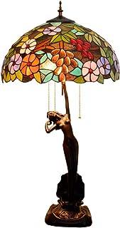 QGL-HQ Tiffany Lampe de Table Raisins Verre Vert Salon Salle à Manger Chambre Diamètre 40 cm Hauteur 76 cm 3 X E27 Socket ...