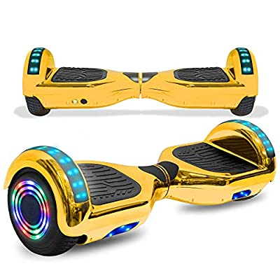 cho Colorful Wheels Series Hoverboard Safety Certified Hover Board Electric Scooter with Built in Speaker Smart Self Balancing Wheels (Chrome Gold)