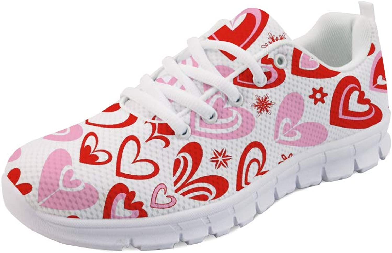 coloranimal Women Jogging Road Running Sneakers Lightweight Mesh Lace-up Flat shoes