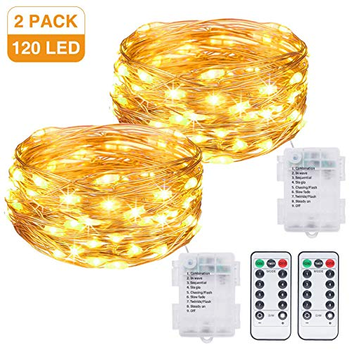 Kolpop Fairy Lights, 2 Pack 40ft 120 LED Fairy Lights with Remote 8 Modes Waterproof guirlande lumineuse Fairy Lights Battery for Bedroom, Patio, Garden, Home, Party, Wedding, Birthday (Warm White)
