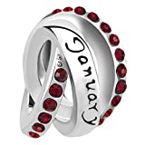 January Birthday Gifts for Mom The Hole Size is about 4.8mm~5mm, compatible with Pandora European bracelets. As an special gift for Mom,daughters, mothers, wifes, Sister,NANA,Grandma and lovers. Ideal Gifts for Christmas Gifts, Mother's Day, Valentin...