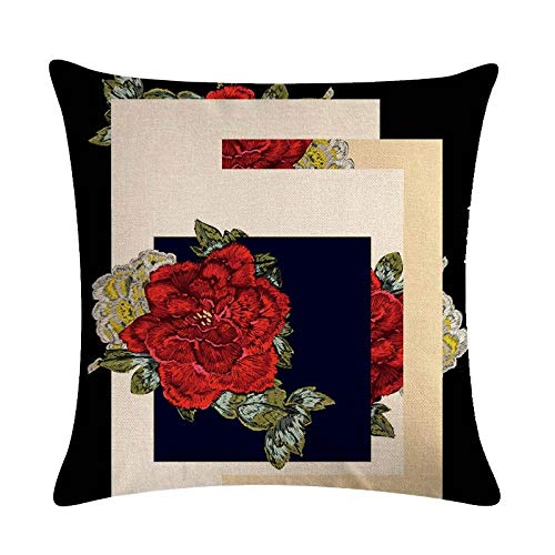 YIBINGLI cushion cover printing peacock rose pillow cover linen car chair sofa bed home 45×45cm with pillow core