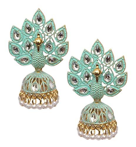 Pahal Traditional Jaipur Blue Pearl Kundan Painted Big Gold Jhumka Earrings Peacock Indian Bollywood Bridal Wear Jewelry for Women