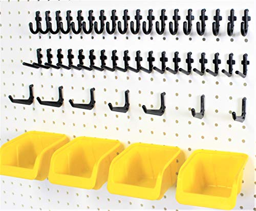 56 Pegboard Storage Organization Kit Yellow Bins and Peg Hooks fits 1/4' Hole Pegboard