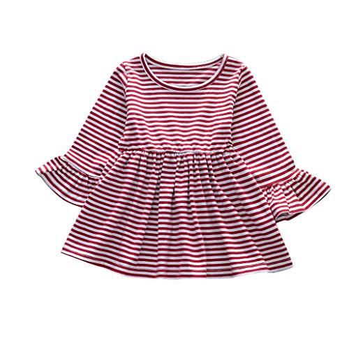ASHOP - Vestidos niña de Princesa 2019 - Tutú Faldas de Fiesta - Manga de Trompeta de Rayas Casual Vestido de Verano - 0-4 Años