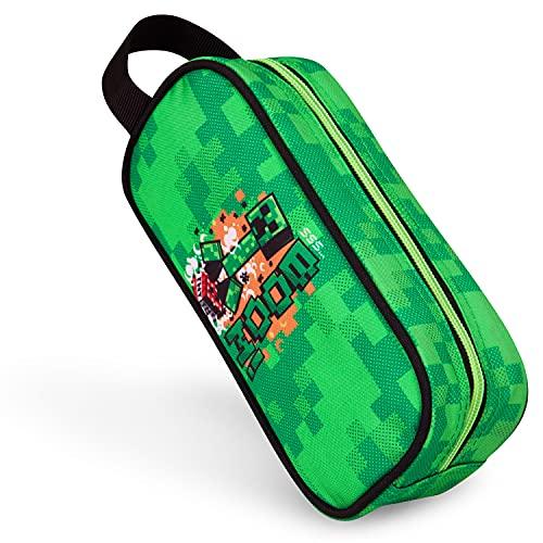 Minecraft Astuccio Scuola Elementare, Astuccio Scuola Media a bustina, Minecraft Gadget Ufficiali (Verde)