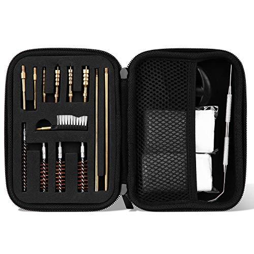【Compatibilità】Il Kit di Pulizia universale della pistola è per Pistola Calibro 9 22 38 40 45 357 MM 【16 Pezzi Strumenti】4x spazzole con foro in bronzo, 4x punte in ottone, 2x punte con intaglio in ottone, 1x spazzola in nylon, 2x aste per la pulizia...