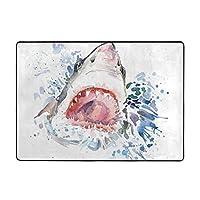 サメ印刷カーペット80 * 58インチ、ソフトコージー。 寝室、居間の装飾的な敷物のため