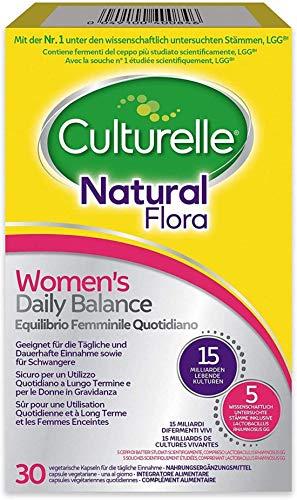 Culturelle Natural Flora Supplement for Women|Women's Daily Balance|30 Vegan Capsules|4 Bacterial strains|15 Billion Live Cultures Lactobacillus rhamnosus GG Made in Denmark|Stomach Acid Resistant