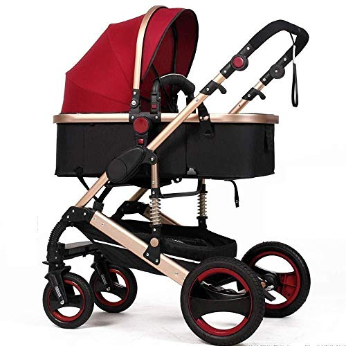 Why Should You Buy ZXCVB 3 in 1 Stroller High Landscape All Terrain Infant Buggy with 5-Point Harnes...