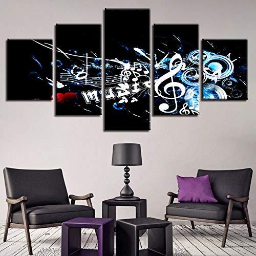 Cyalla Leinwanddrucke Modulare Leinwand Wandkunst Poster Für Wohnzimmer 5 Stücke Rockmusik Malerei Wohnkultur Hd Drucke Musiknote Bilder Rahmen Drucke Auf Leinwand 150X80Cm