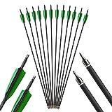AMEYXGS 6 /12pcs Bogenschießen Carbon Pfeile 500 Spine Kohlenstoff Pfeil Praxis Jagd Pfeil für Compoundbogen und Recurve Bogen (12pcs)