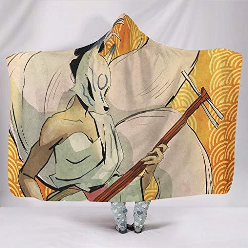 Knuffelig met capuchon deken Anime Kleurrijke Jinja Kitsune Spirit muziek kunstwerk Japans stoofbladvos Traditioneel dier Mythos Folklore druk Warmer Winter Sherpa Mooi middagslaap Camping