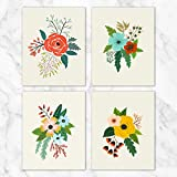 Folk Art Flowers Wall Art - Set of 4-8x10 Prints on Linen Paper - Unframed