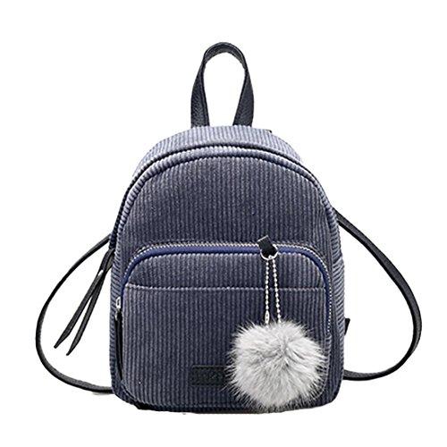 Schultaschen Damen Btruely Mädchen Leder Rucksäcke Reisen Schultertasche (Grau)
