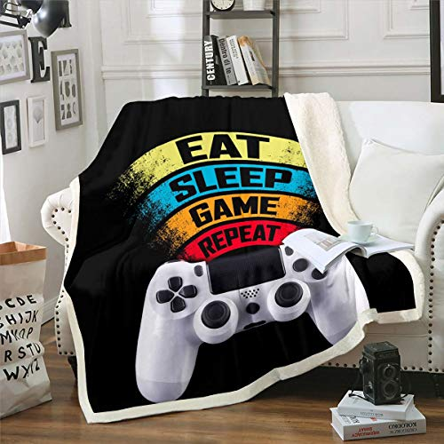 """Game Controller Fleece Throw Blanket White Gamepad Sherpa Blanket for Couch Bed Sofa Modern Gamer Plush Blanket Breathable Games Console Fuzzy Blanket Room Decor Throw 50""""x60"""""""