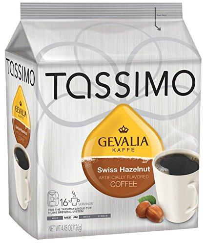 Gevalia Swiss Hazelnut Coffee (Medium), 16-Count T-Discs for Tassimo Coffeemakers (Pack of 2)